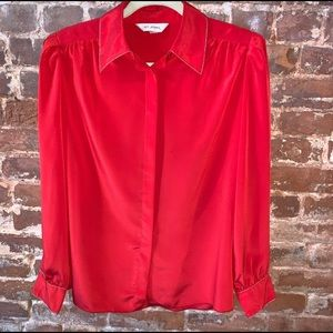 St. John button down blouse with gold trim collar